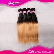 "Brazilian Virgin Hair Ombre 1b/27 closure 8""-30"" Two Tone Brazilian Hair Weft"