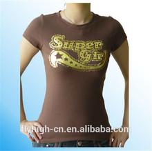 fashion logo custom ladies t shirts small quantity clothing manufacturer