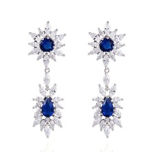 2015 Delicate Dangle Drop Earring Attractive Shining Platinum Plating Inlay Fashion Zircon Earrings