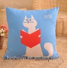 Reading cat square digital Printed Cushions
