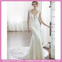 WD2015 china supplier alibaba modest elegant sexy cap sleeve sweetheart neckline brides long train lace wedding dress 2015