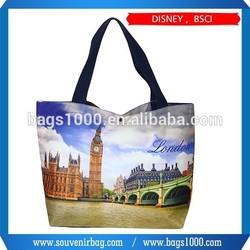 2015 New London Souvenir Sublimation Printing Wholesale Handed canvas tote bag