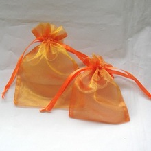 Wholesale Cheap organza orange bag for Wedding Party Favor Decoration Gift Candy Packing