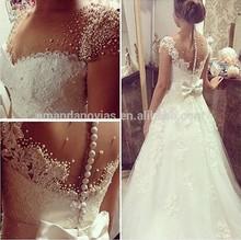A-line Full Pearls vestidos de novia Wedding Dress 2015 Brazil Hot Sale