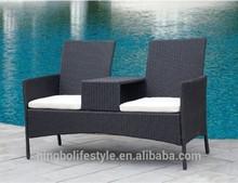 2015 outdoor rattan/wicker beach chair/twin garden chairs cushion for
