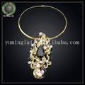 negro africano 18k de diamantes de imitación de oro plateado collar y broche de joyería