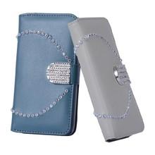 Fashion Diamond Folio Leather phone flip stand Case for samsung s5 i9600