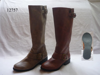 Ladies Wide-Calf Knee-High Ankle-Strap Riding Tall PU Boots with Side Zipper
