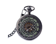 Fashion Stainless Steel Case Roman Numbers Silver Modern Pocket Watch