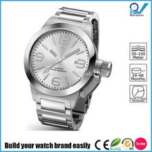Build your watch brand easily stainless steel man japan movement quartz watch sr626sw big case