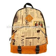 Wholesale Newspaper Words Printed Backpack for Teenagers, Rucksack for School Students