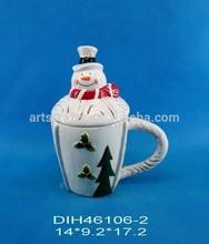 Snowman shape ceramic coffee/tea mug with lid