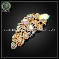 18k gold plated brooch with big rhinestone diamond , fashion brooch jewelry