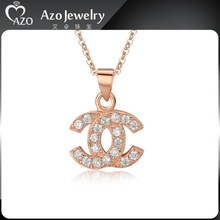 Fashion 925 Sterling Silver CZ Initial Letter Pendant