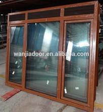 wanjia aluminum casement window with top fixed screen part
