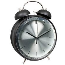 "8"" metal black & silver design twin bell alarm clock/ jumbo twin bell alarm clock/elgin qa twin bell alarm clock silver"
