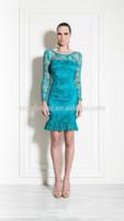 Blue Round Neck High Quality Sheath Short Evening Dress With Long Sleeve