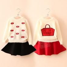 My-0382 wholesale fashion children winter child clothes kids clothing girls Korean hot new cheap vogue long fleece sweater coats