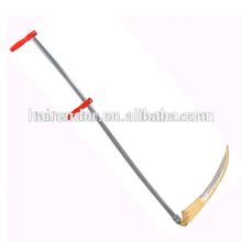 long steel scythe and snath