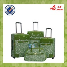 Green High-end Two Wheels Trolley Luggage New Model PU Case