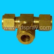 brass threaded ferrule 9.52mm Tee T three way connector