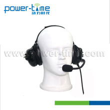 Power Time heavy duty aviation headset pilot headphone earphone with foam mic for noise cancelling two way radio (PTE-740)
