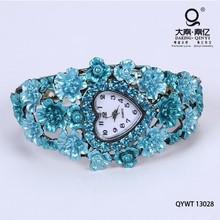 Blue flower jewelry fashion lady watch