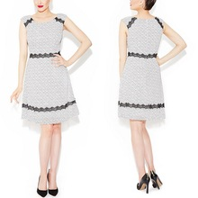 Lace Trimmed Shift Midi Dress Sleeveless Fit and Flare Frock Dress With Black Dots