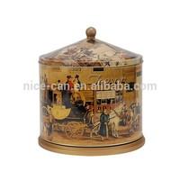 tin music box wooden base