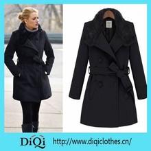 2015 new trendy celibrity black coat faux fur women jacket and coat