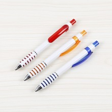 Rubber grip plastic pen with unique grip small tip