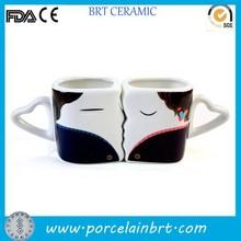 Gift valentines handle Heart Shape Ceramic Couple Mug