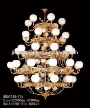 Big copper chandelier lamp for hotel