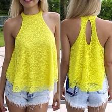 Yellow lace halter-style tops,women tunic fashion