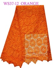 ws37-12 orange 2015 african lace embroidery fabric heavy cotton guipure lace swiss laces fabric for garment