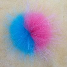 wholesale 10cm two-ton plush blue fox fur pompons in keychain