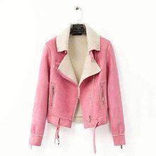 HFR-T1148 Lamb fur collar shearling coat women