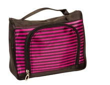 Hot Pink Stripes Black Satin Feel Travel Cosmetic Make Up Bag