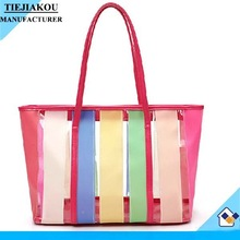 Lady Large Plastic Tote Bag And PU Leather