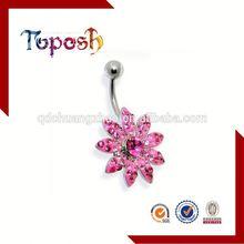 Flower Shaped Stainless Steel Navel Body Piercing Jewelry