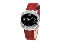 luxury diamond lady leather quartz stainless steel watch case