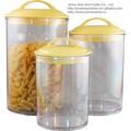 3 pedaço acrílico canister conjunto acrílico transparente vasilha