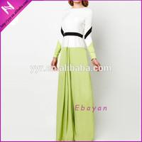 colour blocking contrast waistband abayas for women