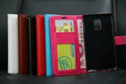 High quality PU leather cover,booklet wallet cover case for samsung galaxy note 4