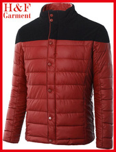 Snaps front brand winter jackets men with top stitching bottom