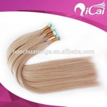 Top sale blonde russian hair heart shape micro tape hair extension