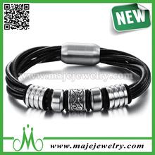 Men surfer bribal multiwrap cuff braided leather bracelet steel hemp band
