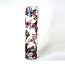 hot selling high quality tube shape flower glass vase with decal