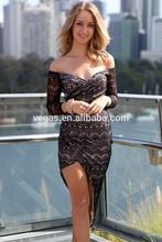 2015 wholesale Black Lace Asymmetrical Wrap Maxi Dress