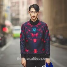 3d catwalk fashion leisure wild high-grade printing round neck hedging sweater coat